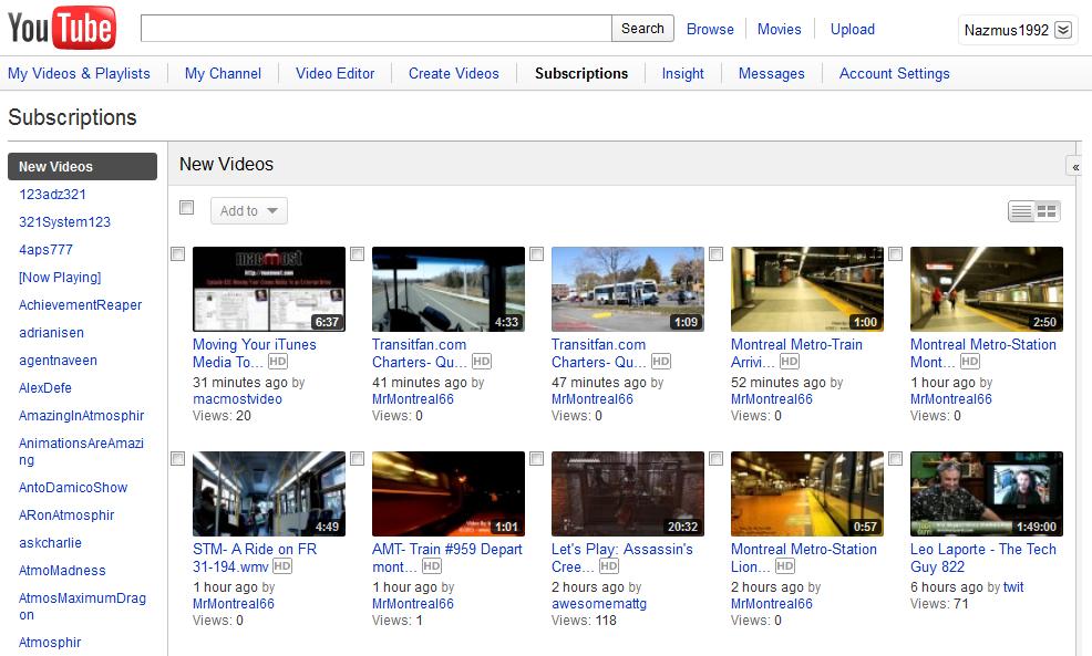 Página principal de YouTube