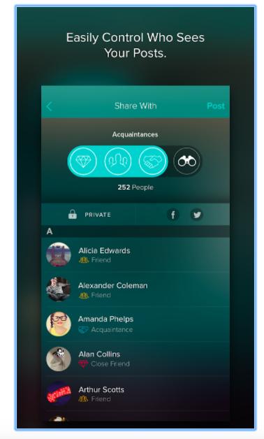Interfaz de la red social Vero